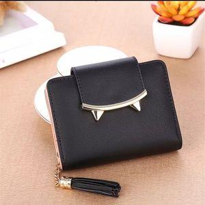 Handbags - Black and silver leather cat ear tassel wallet